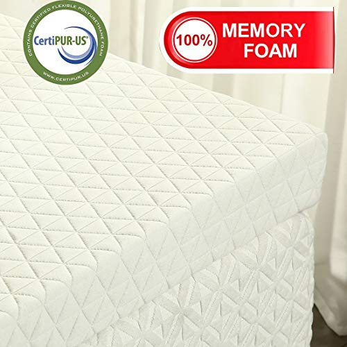 EMONIA 3 inch Memory Foam Mattress Topper - Foam Mattress Topper with Bamboo Cover (Removable Hypoallergenic and Soft)