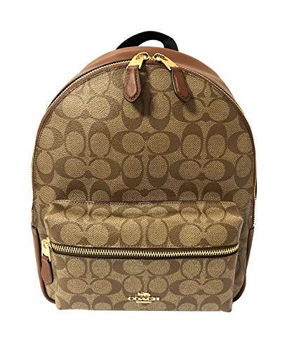 Coach Signature Medium Charlie Backpack (IM/Khaki/Saddle 2)