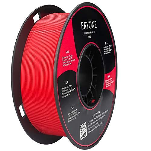 Filamento PLA 1.75mm, Eryone PLA Filamento 1.75mm, Stampante 3D Filamento PLA per Stampante 3D, 1kg 1 Spool, Rosso