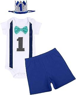 FYMNSI Baby Boys 1st Birthday Cake Smash Short Sleeve Print Romper Shorts Gentlemen Outfits Fancy Photo Shoot Costume