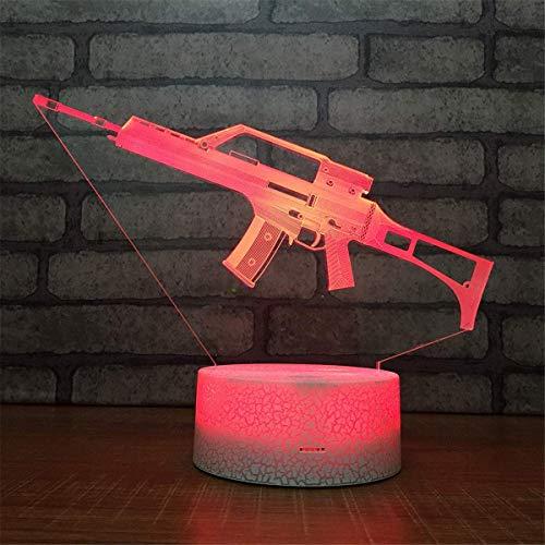 3D Arma ilusión Optica Lámpara Luz Nocturna 7 Colores Cambiantes Touch USB de Suministro de Energía Juguetes Decoración Regalo de Navidad Cumpleaños