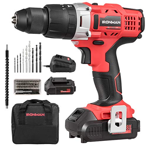 Goplus Cordless Drill, 18V 1/2'' Compact Drill/Driver Kit, 2-Speed Electric Drill, 16+1+1 Clutch, 390 In-lb Torque, 2×2000mAh Lithium Ion Batteries, Fast Charger, Built-in LED