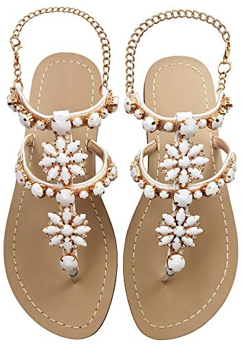 JF shoes Women's Crystal with Rhinestone Bohemia Flip Flops Summer Beach T-Strap Flat Sandals Size 8.5 White