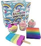 Juego de jabones hechos a mano con un diseño de unicornio y de arco iris, compuesto de bombas de baño, trufa de baño...