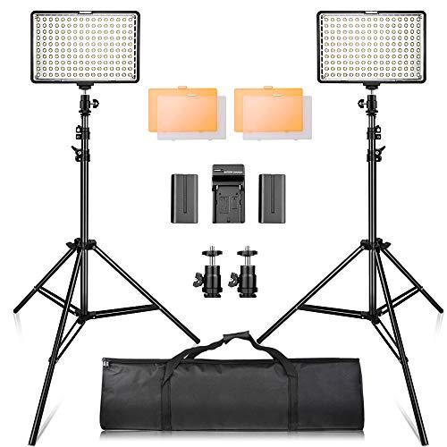 Video Licht LED, SAMTIAN 160 LED Videoleuchte Kit mit 2M Stativ, 3200 / 5500K Foto Light Panel Stand Set für YouTube Studio Fotografie Aufnahmen, einschließlich Batterien, Ladegerät, Tragetasche
