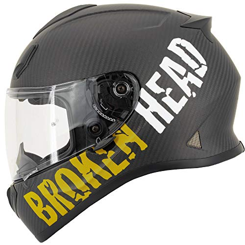 Broken Head BeProud Carbon Ltd. - Leichter Racing Motorradhelm & Integralhelm - Matt-Schwarz & Gelb - L (59-60 cm)