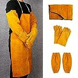 SWL-seller Welder Welding Blacksmith Clothes Protection Leather Gloves Gauntlets Long Apron (Welding Apron+Sleeves+Gloves)