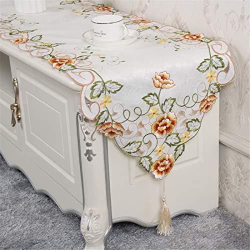 YUNSW Modern And Simple Embroidered Table Runner, Living Room Home Tv Cabinet Cover Cloth Shoe Cabinet Cover Towel Rectangular Table Decoration Fabric
