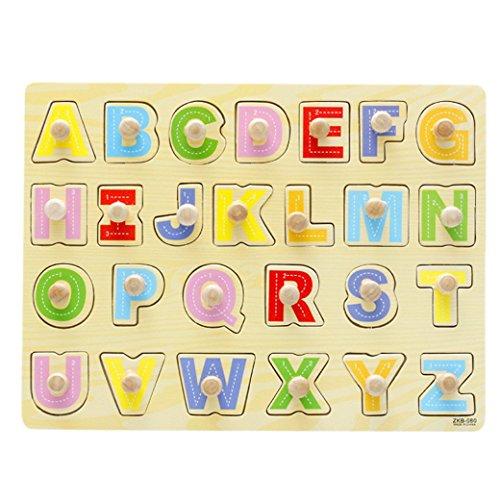 Happy Cherry Jouet en Bois Alphabet Puzzle en Bois à Boutons Encastrement éducation pour Bébé Fille Garçon Jeune Enfant 26 Lettre