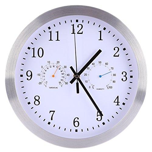 Yavso 30cm Reloj de Pared Radiocontrolado Silencioso Reloj Pared con Termómetro y Higrómetro Metal Reloj para Cocina, Salón, Oficina - Plateado