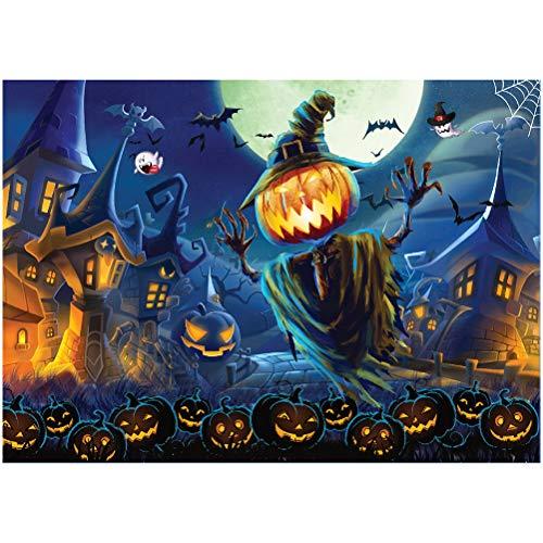 Oulian Puzzle 1000 Piezas Adultos Halloween, Rompecabezas de Papel de Calabaza de Halloween, Puzzle Educational Game Juguete para aliviar estrés Juego Intelectual Cerebro Desafío (70 * 50cm)