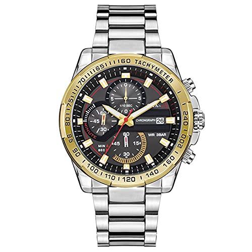 WNGJ Relojes Impermeables para Hombres, Relojes Ocasionales de Tres Ojos Falsos, Relojes de Moda de Negocios de Moda, Relojes de Moda de multifunción Luminosa, la Mejor o Gold