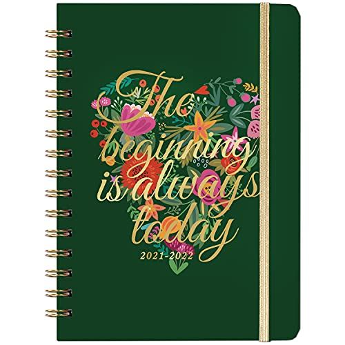 """2021-2022 Planner - Planner 2021-2022 with Weekly & Monthly Pages, Jul 2021 - Jun 2022, 8.5"""" x 6.4'', 12 Monthly Tabs, Back Pocket, Elastic Closure, Hardcover, Thick Paper"""