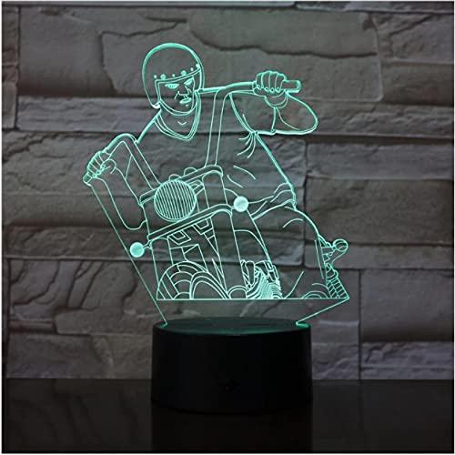 Lámpara LED 3D acrílica con motor de conducción, interruptor táctil remoto con cambio de 7 colores, decoración USB, luz nocturna para dormir, iluminación para bebés