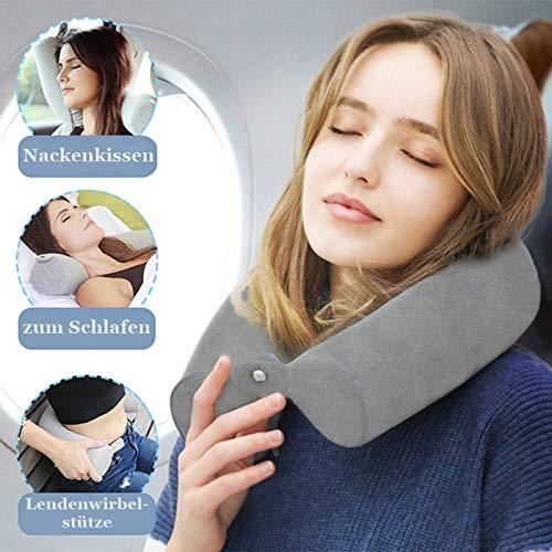 PHYSIUS Nackenkissen Nackenhörnchen - verstellbar für alle Schlafpositionen - Reisekissen für Flugzeug Zug oder Auto - Memory Schaum (Grau)