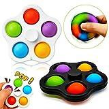Paochocky Set di Giocattoli sensoriali semplici Fossette, 2 Pezzi Five Fingers Bubble con Spin Toy, Giochi creativi Giocattolo Anti-ansia Giocattolo per Bambini, Adulti, autismo, ADHD