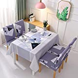 XiaoOu Waterproof Tablecloth Decorative Tablecloth Waterproof Oilproof Dining Table Cover+Chair CoverRectangular Printed Table Cloth Spandex Tablecloth,Shapes,TableL-Chair x8