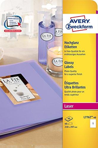 AVERY Zweckform L7767-40 Hochglanz-Etiketten (zum Bedrucken, selbstklebend, 210x297 mm, A4, 40 Glossy Aufkleber auf 40 Blatt, hochglänzendes Papier zur professionellen Produktkennzeichnung) weiß