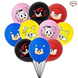 LEBERY Sonic the Hedgehog Balloons 12', 30pcs Sonic Latex Balloons, Sonic Birthday Balloon, Sonic Figure Balloons for Sonic The Hedgehog Birthday Baby Shower Sonic Theme Party Supplies Decorations