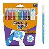 BIC Kids Colour & Erase Magic Rotuladores - Colores Surtidos, Blíster de 12 Unidades