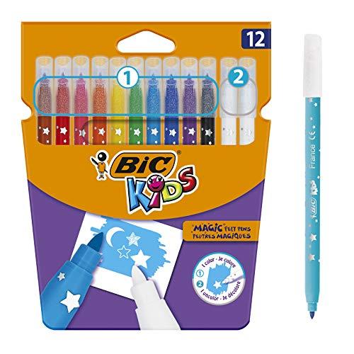 BIC Kids Magic Feutres Magiques à Pointe Moyenne - Couleurs Assorties, Etui Carton de 12