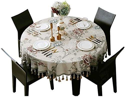 Durable European Tablecloth Dustproof Pattern Fashion Tassel Table Round Oakland Mall
