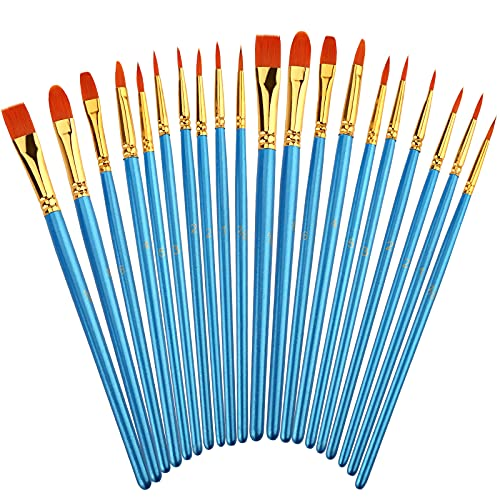 Siziviki Artist Paint Brush Set, 20PCS Nylon Hair Brushes of 10 Different Sizes, Painting Brushes Kit for Beginners and Professionals, Great for Watercolor, Oil or Acrylic Painting, Blue