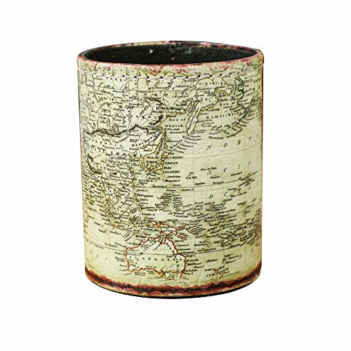 LINKWELL Vintage World Map PU Leather Pencil Pen Holder Desk Organizer PH31
