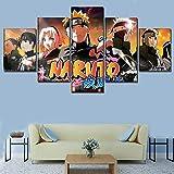 woplmh One Set 5 Paneles Póster de Anime Naruto Personajes Póster Impresión de Lienzo Pintura Arte Moderno de la Pared Decoración del hogar / 30x40 30x60 30x80cm-Sin Marco