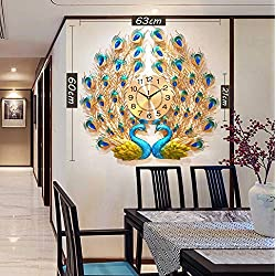 Double-Headed Peacock Wall Clock, Home Decoration 3D Crystal Luxury Quartz Clock, Suitable for Living Room, Dining Room, Entrance (63×60cm)