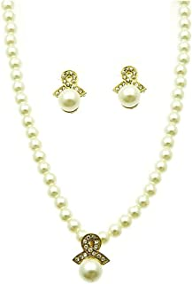 V G S Eternity Fashions Jewelry ~ Cream Faux Imitation Pearl Crystal Stones Pendant Necklace and Earring Jewelry Set