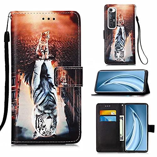 CRABOT Cover Xiaomi Mi 10S Custodia per Telefono Clamshell Conchiglia Pelle PU Con Slot per Schede Portafoglio Modello 3D+1pcs Proteggi Schermo-(Gatto e Tigre)