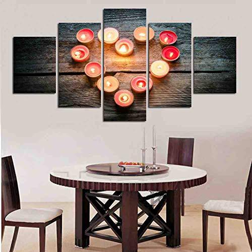 GIAOGE modulaire beschilderde canvas muurkunst schilderijen decoratie 5 stuks romantische kaars hartvorm moderne Hd Poster afdrukken frame ohne gerahmt 30 x 40 30 x 60 30 x 80 cm.
