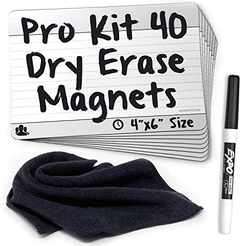 Dry-Erase Planning Card Magnets by AgilePacks for Agile Planning Boards, Scrum, Kanban, Meetings, Productivity   AgilePacks Pro Kit - 40 4x6 Magnetic Planning Cards, Magnetic Cleaning Cloth and Marker