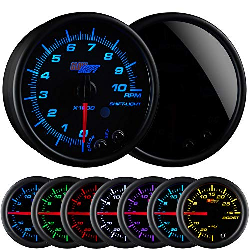 GlowShift Tinted 7 Color 10,000 RPM Tachometer Gauge - for 1-10 Cylinder Gas Powered Engines - Built-in Shift Light - Mounts in Custom Dashboard - Black Dial - Smoked Lens - 3-3/4