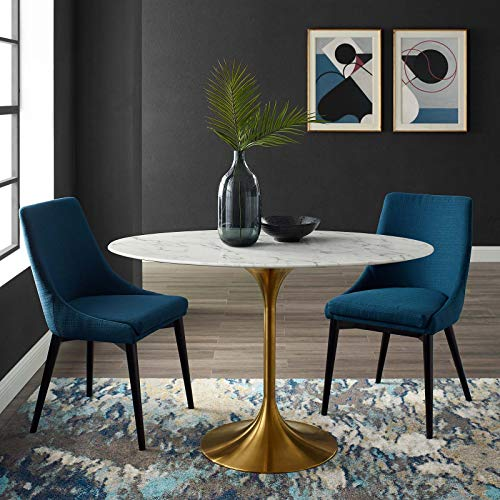 """Modway Lippa 48"""" Oval-Shaped Mid-Century Modern Dining Table with Artificial Marble Top and Gold Base"""
