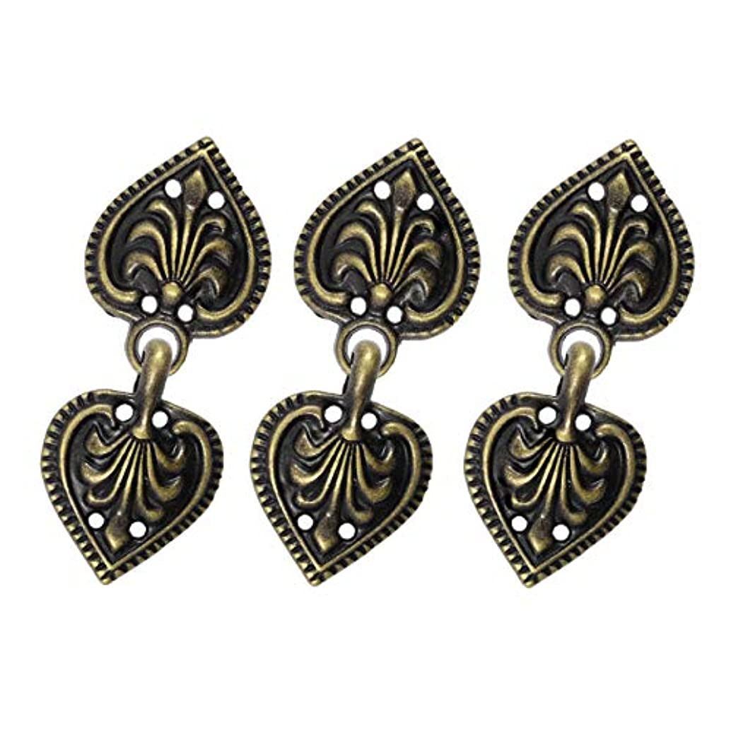 Bezelry 6 Pairs Baroque Spade Hook and Eye Cloak Clasp Fasteners 48mm x 19mm Fastened. (Antique Brass)