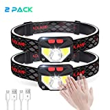 E-thinker USB Rechargeable Head Torch, Ultralight Induction LED Headlamp with 8 Modes