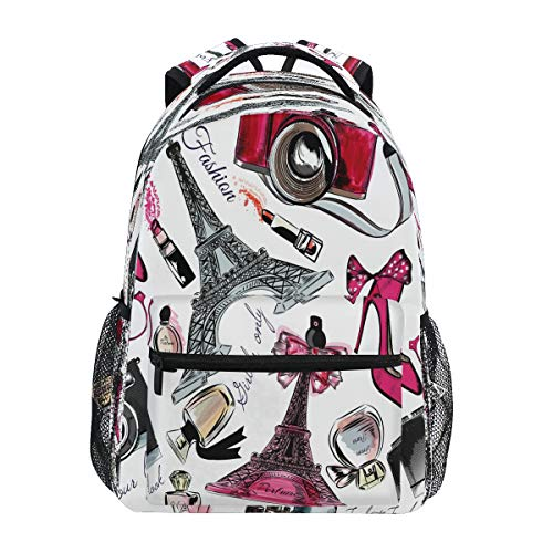 RXYY Perfume Torre Eiffel zapatos cámara lápiz labial mochila escolar para niños...
