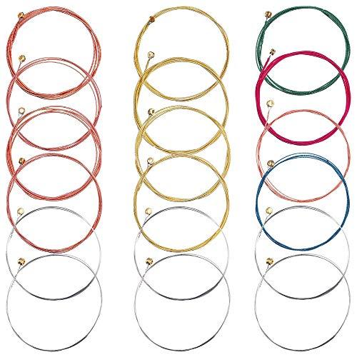 18 piezas cuerdas de guitarra de reemplazo de cuerdas de acero, conjunto de cuerdas de guitarra acústica, cuerdas en oro y colorido, para guitarra eléctrica guitarra ukelele bajo