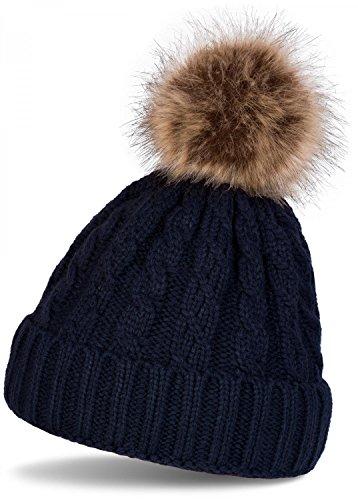styleBREAKER Zopfmuster Bommelmütze, Strickmütze mit Fellbommel, Winter Beanie Mütze, Unisex 04024064, Farbe:Midnight-Blue