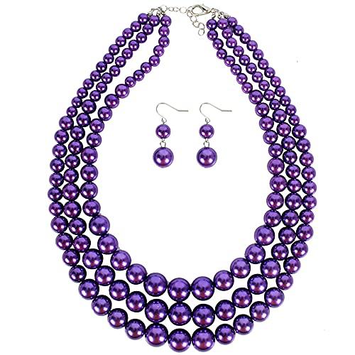 HMANE Collar Llamativo de Cuentas de Babero de joyería de Perlas de Tres Capas para Mujer, Gargantilla de Cadena con Cuentas, Conjuntos de Joyas de 46 + 8 cm