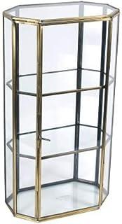 CAPRILO Vitrina Decorativa Pequeña de Cristal y Metal.