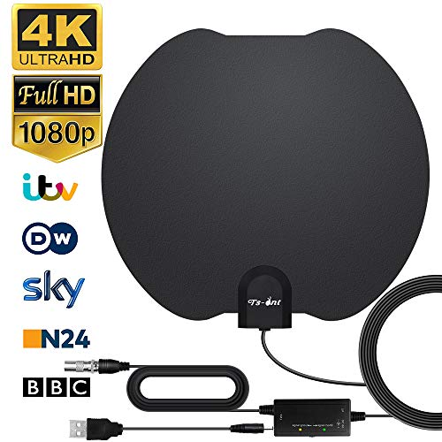 TV Antenna, Indoor Digital HD TV Antenna, 130KM Reach TV Antenna with Signal Amplifier, Free with 5M Coaxial Cable, 4K 1080P, Most Powerful TV Antenna (1 Style)