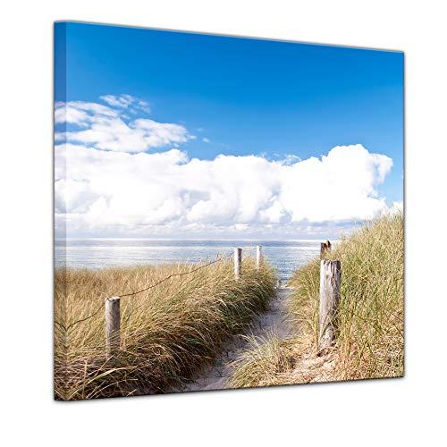 Bilderdepot24 Bild auf Leinwand | Strandweg - Ostsee | in 40x40 cm als Wandbild | Wand-deko Dekoration Wohnung modern Bilder | 211485