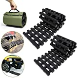 RELIANCER 2PC Traction Tracks Mats TPR 31.5' L Tire Recovery Track Pad Roll Car Vehicle Tyre Traction Boards Tire Ladder Track Grabber Auto Emergency Traction Aid w/Bag for Off-Road Mud Snow Ice Sand