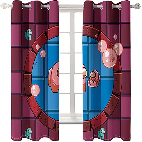 Cortinas De Dibujos Animados Impresas Tridimensionales En 3D Aislamiento Térmico Sombreado Cortinas Flotantes Perforadas Fáciles De Instalar Adecuadas para Salas De Estudio Habitaciones