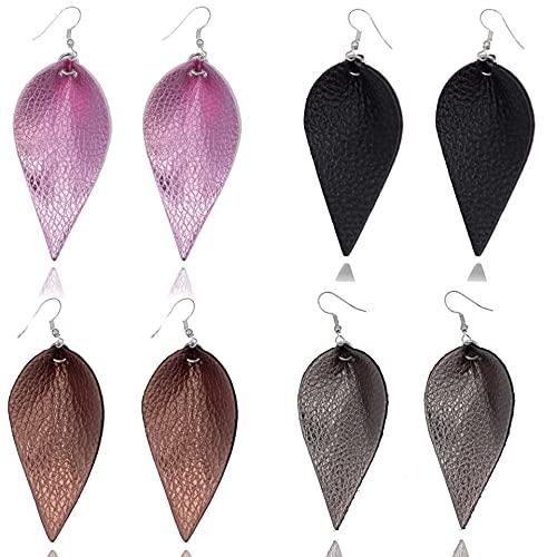 NC 4 Pairs of Artificial Leather Earrings, Ethnic Style Leaf Earrings, Ladies Teardrop Earrings, PU Earrings