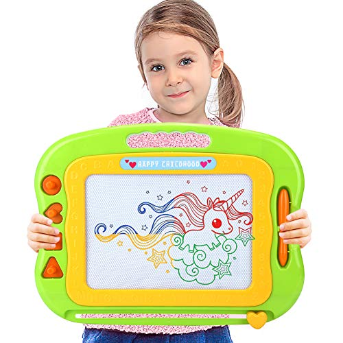 Acksonse Magnetic Doodle Board for Toddlers, Travel Size Kids Magnetic Drawing Board with Pen & 4 Stamps, Large Etch A Magnet Sketch Pad Educational Learning Toys for 3 4 5 6 Year Old Girls Boys Gifts