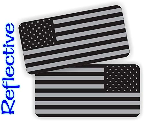 Pair - REFLECTIVE Stealthy American Flag Hard Hat Stickers | Black Ops Decals | Tactical Gear Survival Labels | USA Flags Toolbox Helmet Patriotic Old Glory